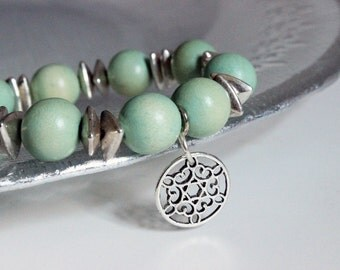 Mint Green and Silver Disc Beaded Charm Bracelet