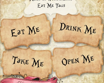 Alice in Wonderland Eat Me Labels, Wonderland Gift Tags, Printable Party Labels, Vintage Wonderland, INSTANT DOWNLOAD