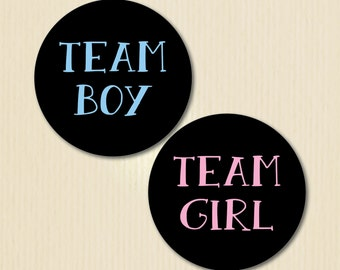 Gender Reveal Party Sticker, Team Girl, Team Boy, Chalkboard Baby Shower, He or She, Pink or Blue, Aqua & Magenta Options