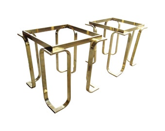 2 Available  Brass U0026 Glass Geometric End Tables Coffee Table Ottoman Bases  Karl Springer Style