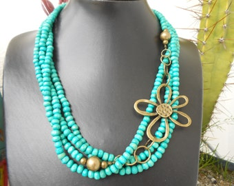 Turquoise and Old Gold Necklace