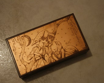 Wood box with Venetian carnival mask engraved on copper