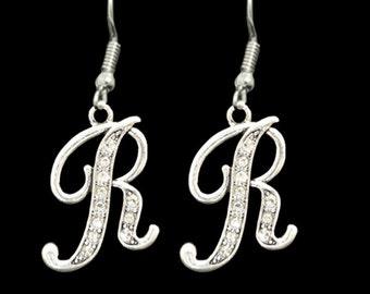 R Initial Earrings