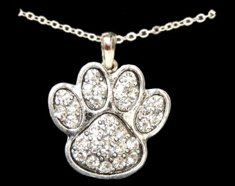 Clear Paw Print Necklace