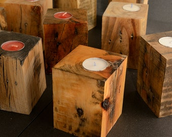 Reclaimed Pallet Wood Candle Holder