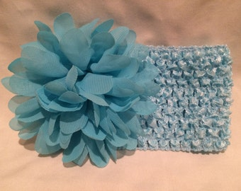 Light Blue Crochet Headband Stretchy Headband with Light Blue/ Aqua Chiffon Flower
