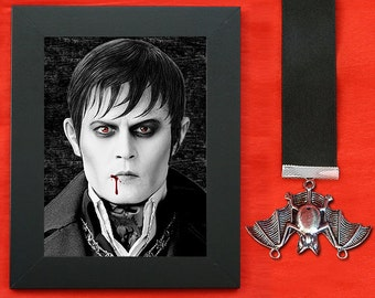 "Vampire Barnabas Collins (Johnny Depp) - premium quality print page FRAMED + black satin ribbon + ""antique silver"" pendant"
