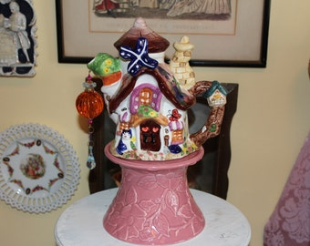 Tinkerbell Fairy House Teapot Centerpiece, Victorian Tea Party or Birthday Party Decoration