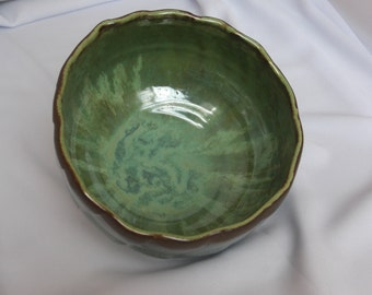 Large ceramic bowl with green waterfall swirl, large handmade pottery bowl