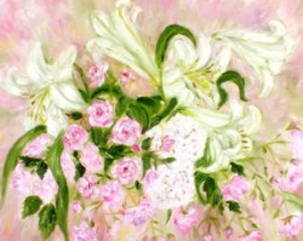 Large Original oil painting impressionist  pink roses white lilies French shabby chic