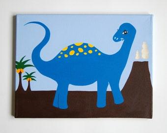 Dinosaur Nursery Art, Diplodocus painting, Boys Dinosaur room, Boys wall art, Dinosaur decor, Kids Dinosaur Art,  16 x 12 canvas artwork