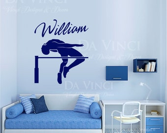 High Jump Track Field Decal Custom Name Wall Personalized Vinyl Sticker