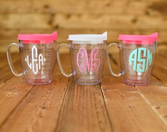 Tervis coffee mug with lid. Personalize with monogram or name. 15 ounces.