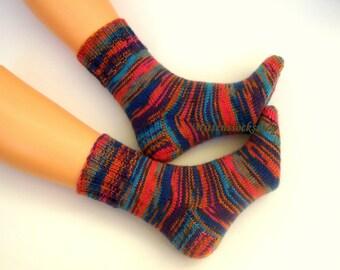 Blue Red Hand Knitted Socks Blue Red Women's Socks Blue Red Girl's Socks Men's Socks Winter Socks Warm Socks Wool Socks Athletic Socks Gift