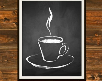 Nectar of the Gods - Chalkboard, Chalkboard Print, Coffee, Steaming Coffee, Black and White, Chalk, Cup of Coffee, Java, Coffeehouse Print