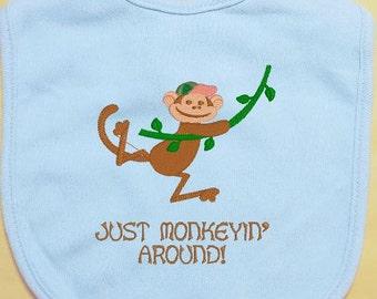 Embroidered Baby Bib, Monkey Baby Bib, Just Monkeyin' Around Bib, custom baby bib, infant bib, boy bib, girl bib, cotton baby bib