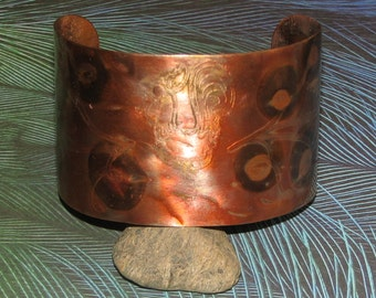 C18 - Copper Cuff Bracelet with Etched Rooster and Heat Patina Coloration Adjustable