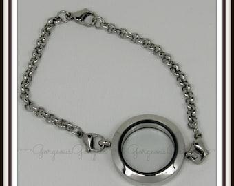 25mm Floating Locket / Glass Locket / Memory Locket Bracelet Stainless Steel