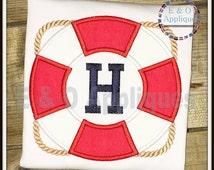 Life Ring Monogram Applique Design - Nautical Applique Design - Boating Applique