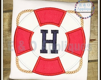 Life Ring Monogram Applique Design - Nautical Applique Design - Boating Applique