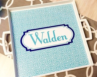Monogrammed Tray - Custom Tray with handles - Personalized Tray - Choose your design - lucite tray