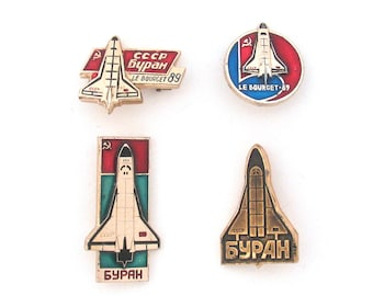 Space, Buran, Badge, Pick from set, Shuttle, Cosmos, Rare Vintage collectible badge, Soviet Vintage Pin, Soviet Union, Made in USSR, 1970s