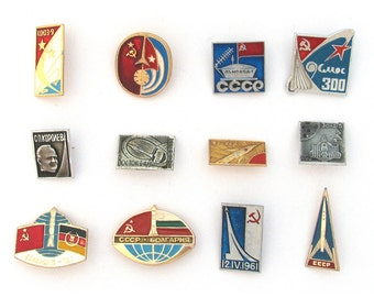 Space, Badges, Pick from Set, InterKosmos, Korolev, Vintage collectible badge, Soviet Vintage Pin, Soviet Union, Made in USSR