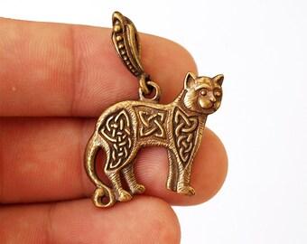 Celtic cat, Cat necklace, Cat pendant, Cat jewelry, Celtic knot, Knot jewelry, Celtic jewelry, Celtic pendant, Celtic necklace, Brass
