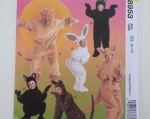 Kids halloween costume/Bunny bear cat lion kangaroo cute boy girls costumes/ 1997 sewing pattern, Chest 25 26 27, Size 6 7 8, McCalls M 8953