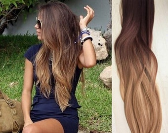 Full Head Dip dye Clip in Human Hair extensions Ombre 6 Pcs Dark brown to dirt blonde