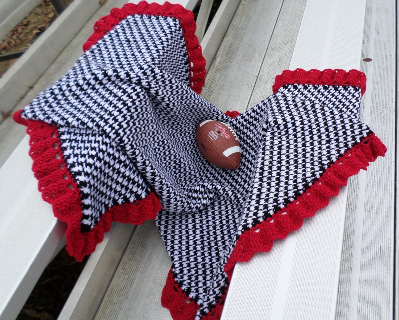 Crochet Patterns Alabama Football : Alabama Throw Baby Blanket Houndstooth by JennaWingateDesigns