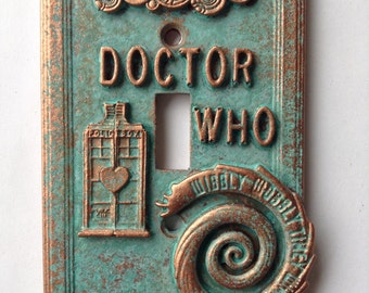 Doctor Who - Light Switch Cover - Aged Copper/Patina or Stone