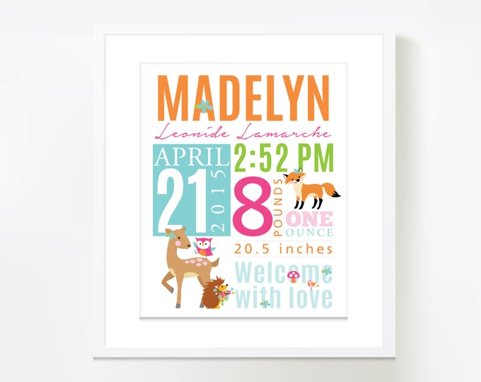 Birth Stats, Wall Art, Woodland Birth Announcement wall art personalized, baby print date of birth, baby keepsake, birth sign, digital file