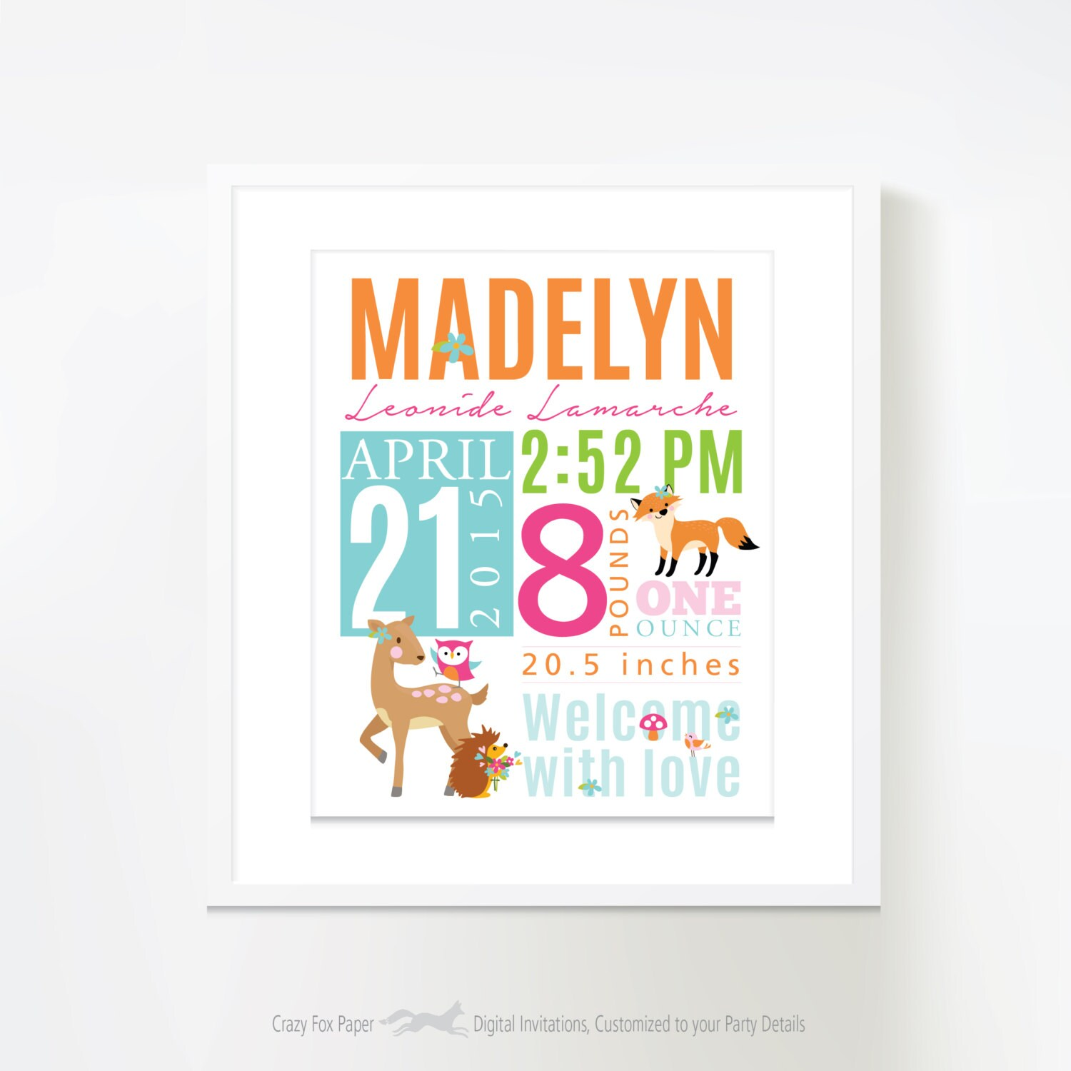 Birth Stats Wall Art Woodland Birth Announcement Wall Art Personalized Bab