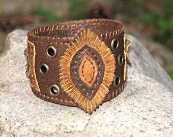 Handmade Genuine Leather Brown Bohemian Cuff Bracelet, Boho Jewelry, Bohemian Accessories