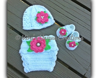 Baby girl crochet beanie hat, diaper cover and booties set, crochet baby girl prop set, crochet baby prop set, crochet hat, made-to-order