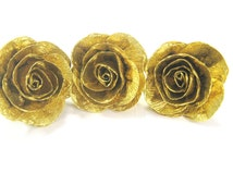 10 Gold giant crepe paper roses baby shower Gold WEDDING CENTERPIECE DIY Wedding gold cup Cake Toppe craft flowers boutonniere gold corsage