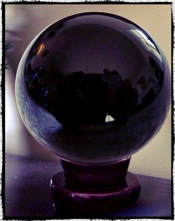 Large Obsidian Crystal Ball 4 5 Diameter Scrying