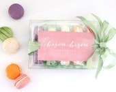 Gift Box- Macaron-Springtime in Paris-Tea Cookies-Pistachio, Creme de Cassis - Lemon-Orange Chocolate-Strawberry-Bisou Bisou Macarons