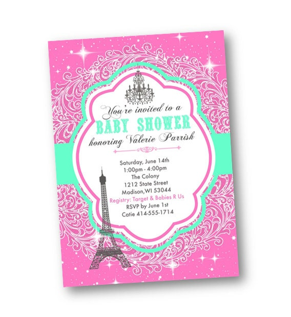 paris baby shower invitation invite printable girl pink and