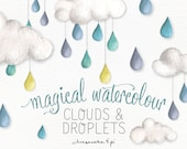 Watercolor fluffy clouds and rain drops: PNG clip art / whimsical clip art / commercial use / nursery art / children decor / CM0076-clouds