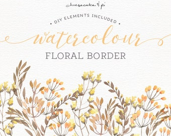 Watercolor floral border: PNG floral clipart / Wedding invitation clip art / commercial use / golden, yellow, brown, autumn, fall / CM0072c