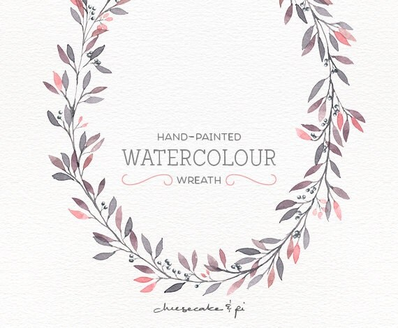 Watercolor Wreath: Floral Wreath Clipart / Flower Wreath / Wedding  Invitation Clip Art / Commercial Use / Oval Wreath Pink Leaves / CM0076b