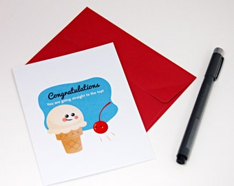 Congratulations Ice Cream and Cherry Notecard