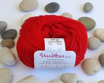 Cotton yarn - RED - 100% mercerized cotton yarn for knitting and crochet by Unitas - 50g/142m - Color number 11