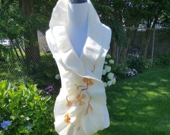 Felted Wool Scarf in White with Peach Dogwood Flowers. Luxurious and Lightweight Felted Neckpiece.  Boho Accessory. Spring Scarf.