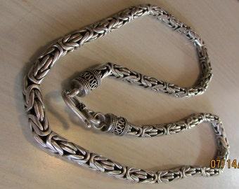 "Sterling Silver Heavy Byzantine Chain 24"""
