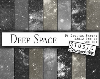 """Black and White Galaxy Digital Paper - """"Deep Space"""" - Galaxy Backgrounds - Stars and Galaxies / Milky Way / Nebulae - Instant Download"""