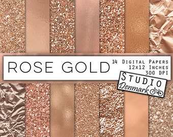 Rose Gold Foil and Glitter Textures - Rose Gold Digital Paper - Warm Gold Backgrounds - Gold Glitter Backgrounds - Instant Download