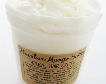 Brazilian Mango Butter Herbal Hair Creme - Healthy 2 in 1. Hair & Body Moisture Sealant - Twisting Creme Infused w/ Rosemary, Comfrey, 8oz
